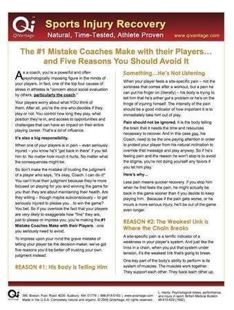 1 Mistakes Coaches Should Avoid Injured Athletes